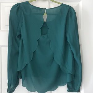 Scalloped green top